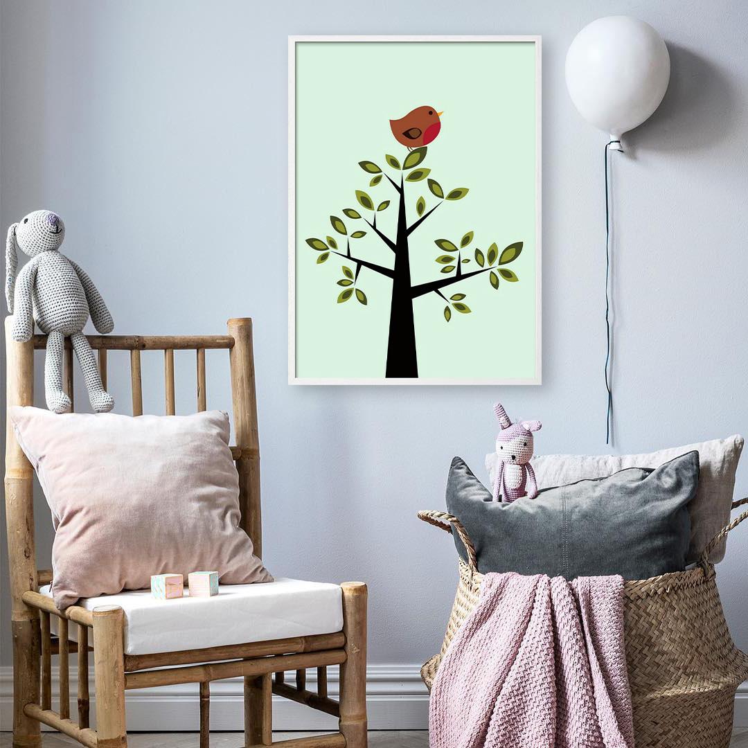 Lastenhuoneen juliste-lintu puussa