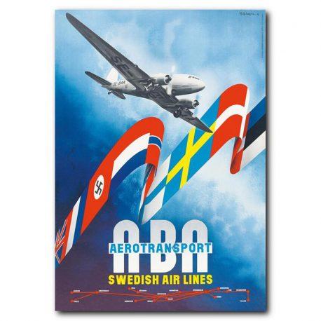 VINTAGEJULISTE-MATKAILU-SWEDISH-AIR-LINES-42X60-1A